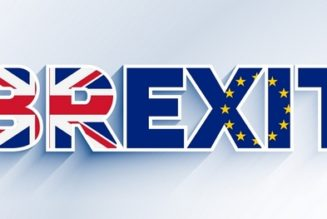 brexit text with united kingdom and eu flag